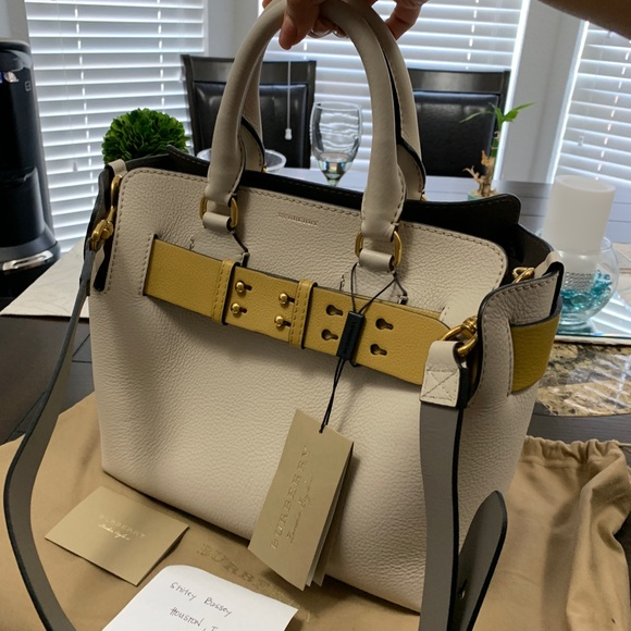 Burberry Handbags - White leather bag-- new with tags. Never used.